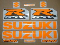 GSX-R 600 neon fluorescent orange decals stickers graphics set srad fluo signal