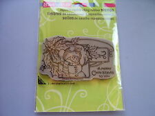 STAMPENDOUS RUBBER STAMPS CLING SNOWMAN HOLLY STAMP