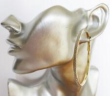 Beautiful Thin Hoop Dangle Drop Earrings 6 cms wide Silvery Glitter on Gold Tone