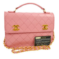 Authentic CHANEL Quilted CC Chain 2way Hand Bag Pink Leather Vintage GHW A33413