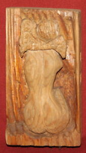 Antique Hand Carving Wood Nude Woman Small Wall Hanging Plaque