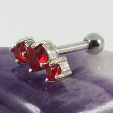 Cartilage Bar Lobe Helix Upper Ear Silver Motif Light Siam Crystal 1.2 x 6mm New