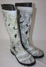 Bear Paw Womens Ladies White Black Waterproof Rubber Rain Boots Size 7