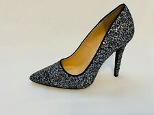 Qupid Women's Glitter Pointed Toe Stiletto Pumps High Heels Shoes Black/Silver
