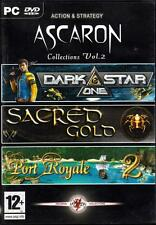 JEU PC DVD ROM../..ASCARON../..DARK STAR ONE../..SACRED GOLD../..PORT ROYALE  2.