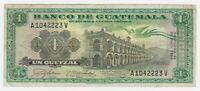 Guatemala 1 Un Quetzal 1966 Banknote aCF + Rare Date Bird Prefix A V