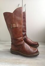 DR MARTENS 10614 Women Brown Leather Side Zip Knee High Boots US7