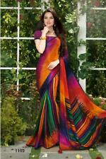 NW Multi Indian Saree Sari Wedding Designer Peacock Print Crepe Silk Party Wear