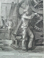 ANTIQUE PRINT DATED 1888 OILING THE WHEELS HOME WORDS ENGRAVING ETCHING MACHINES