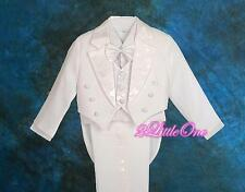 5 Pcs Set White Formal Tuxedo Suit w/ Tail Wedding Party Pageboy Sz 18-24m #011A