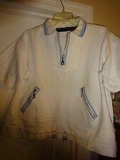 CA Sport Collection Ladies Large Short Sleeve White w Blue Trim Top Sweatshirt