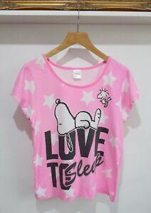 Pink Snoopy T-shirt Love To Sleep, Medium, Peanuts Snoopy & Woodstock t shirt