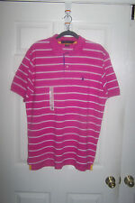 U.S. POLO ASSN. MEN'S PINK AND WHITE STRIPED SHORT SLEEVE POLO  SHIRT SIZE L