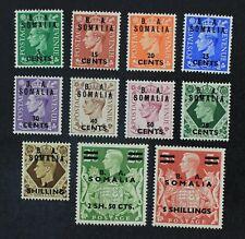 CKStamps: Great Britain in Somalia Stamps Collection Scott#21-31 NH OG Gum Bend