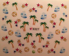 Nail Art 3D Decal Stickers Palm Trees Sail Boats Stars K027
