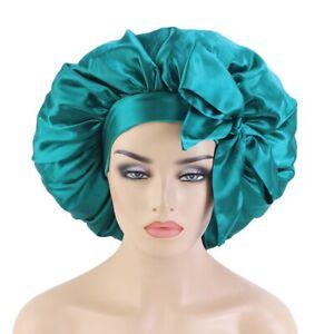 Large Night Sleep Cap Hair Bonnet Hat Head Cover Satin Wide Band Adjust Sleeping