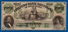 1850's CITIZEN'S BANK LOUISIANA 5 five DOLLAR NOTE BILL CRISP UNC