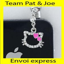 BIJOU CACHE POUSSIERE telephone portable pour PRISE JACK style tete chat Coeur