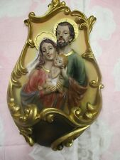 "Holy Family Holy Water Font - Resin -- 8"" H LC613"
