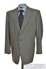 LEONARD LOGSDAIL Gray Blue Striped 100% Wool Jacket Pants SUIT - BESPOKE 42 R