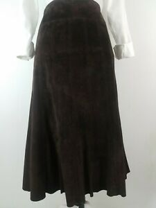 Ann Taylor Skirt Size 6 Chocolate Brown Suede Leather Paneled Aline Flare Midi