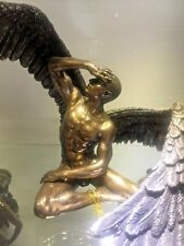 Desnudo masculino estatua de color bronce Alas de Ángel extendido sentado  Plumas Nuevo  189 3a05a776e808
