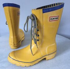 Hunter Festival Lace Up Yellow Rain Boots Kids Size 4