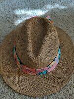 Cali Frame Woven Straw Panama Hat Cap Tan Flower Scarf - Ladies