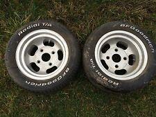 2 Vintage 13x7 Aluminum Slotted 4 Lug Wheels Hot Rod Gasser Pair