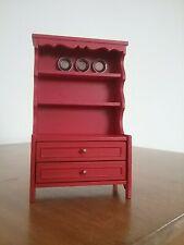 Vintage Lundby Furniture Accessories,  Red Rustic Kitchen Cupboard, 3185
