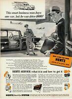 1954 ORIGINAL VINTAGE HERTZ CAR  RENTAL MAGAZINE AD