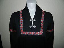 Meister Women Black Ribbon Decor Ski Snowboarding Sweater sz M