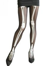 Gothic halloween strumpfhose skelett knochen schwarz weiß B052