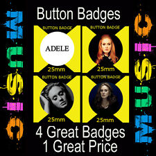 "ADELE - 4 GREAT BUTTON BADGES - 25mm -1"" CD9876"