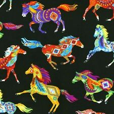 Southwest Horses Bright Aztec Painted Pony Black Cotton Fabric by the Yard