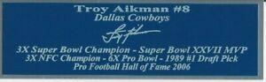 Troy Aikman Autograph Nameplate Dallas Cowboys Autograph Jersey Helmet Photo