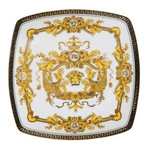"Euro Porcelain 7"" White Salad Dessert Plate 24K Gold - Medusa Greek Key Dining"
