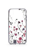 Floral Print Hard-Shell iPhone X Case - Gray & Pink Floral Pattern on Clear Case