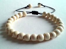 men's beaded bracelet shamballa cuff wristband white wooden beads gift men