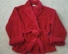 Cypress Women Solid Red Fleece Long Sleeve Short Wrap Bed Jacket Robe    Size L