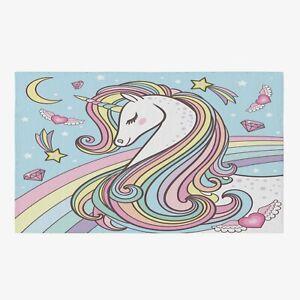 Unicorn Rug rainbow Rug blue kids Rug unicorns Floor Rug rainbow Rugs large