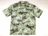 Kalaheo Mens Large Hawaiian Short Sleeve Shirt Palms Planes Print USA Made VTG