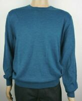 Men`s CHRISTIAN BERG Jumper Crew Neck Wool Blend Size L Teal Pullover Sweater
