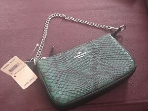 COACH 54642 FOREST GREEN PYTHON EMBOSSED LEATHER  CLUTCH WRISTLET BAG NWT