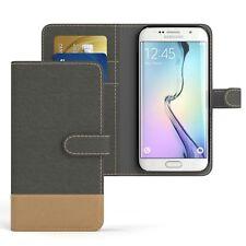 Tasche für Samsung Galaxy S6 Edge Jeans Cover Handy Schutz Hülle Anthrazit