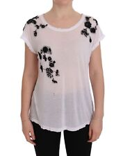 Preowned $560 DOLCE & GABBANA T-shirt White Black Floral Embroidery IT44/US10 /L