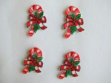 #2937 Lot 4Pcs Red Christmas Candy Canes Embroidery Iron On Applique Patch