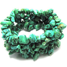 """30mm green turquoise chip bead stretch bracelet 7"""""""