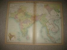 Large Antique 1922 Farther & India Malaysia Vietnam Asia Ethnic Times Atlas Map