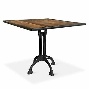 """Ramsbury Industrial Dining Table - Iron Base Black - 36"""" Square"""